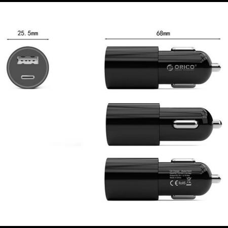 Orico   Stijlvolle autolader met USB-C en USB-A poorten – Aluminium legering - 12V/24V – 5V-3.1A max. – Intelligente Chip – Zwart