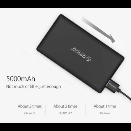Orico   Zijdezachte powerbank 5000mAh - Lithium-Polymeer (Li-Po) batterij