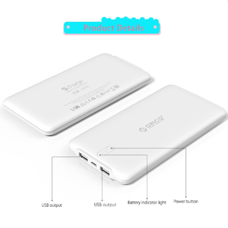 Orico  5000mAh Power Bank 2.4A Smart Charge LiPo inclusief kabel oplaadbare batterij wit