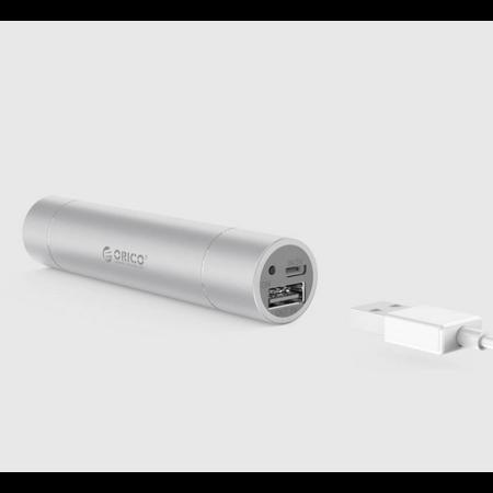 Orico  Aluminium mini powerbank 3350mAh – Inclusief zaklamp – Zilver  Orico Aluminium mini powerbank 3350mAh – Inclusief zaklamp – Zilve