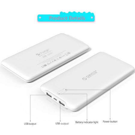 Orico  20000mAh Powerbank 2.4A Smart Charge inclusief kabel LiPo Accu Externe Batterij -Wit  Orico 20000mAh Powerbank 2.4A Smart Charge inclusief kabel LiPo Accu Externe Batterij -Wit