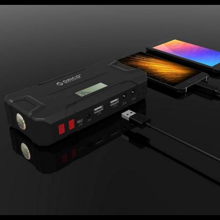 Orico  2-in-1 Jumpstarter en outdoor powerbank 12000mAh - Li-Po batterij - LED-indicator - Waterdichte rubberen behuizing – Zwart