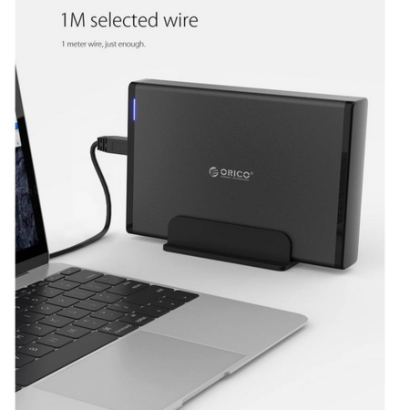 Orico  Aluminium USB 3.0 Harde Schijf Behuizing met slot - 3.5 inch - HDD/SSD - 5Gbps - LED-indicatoren - 1M datakabel - Zwart