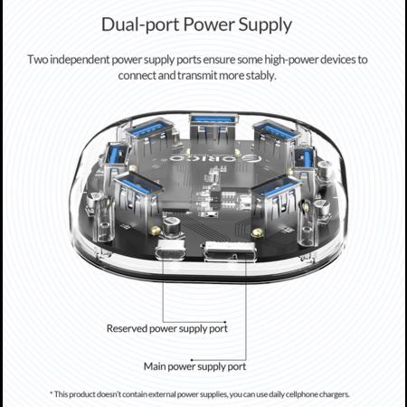 Orico  Transparante USB 3.0 hub met 7 USB-poorten