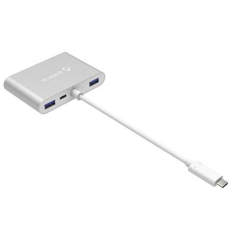 Orico  aluminium USB type-C hub met VGA, HDMI, ethernet en USB3.0 type A en C aansluitingen - zilver