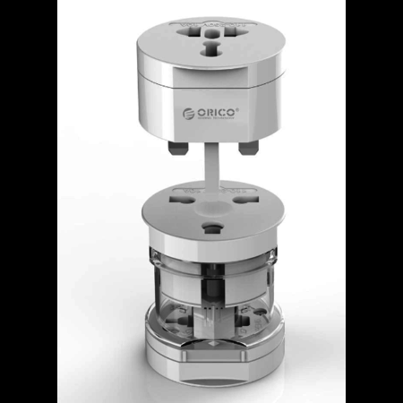 Orico  All-in-one plug adapter - Wereldwijd gebruik - Extra beveiligd voor kinderen - Incl. Flanellen beschermtasje – Wit