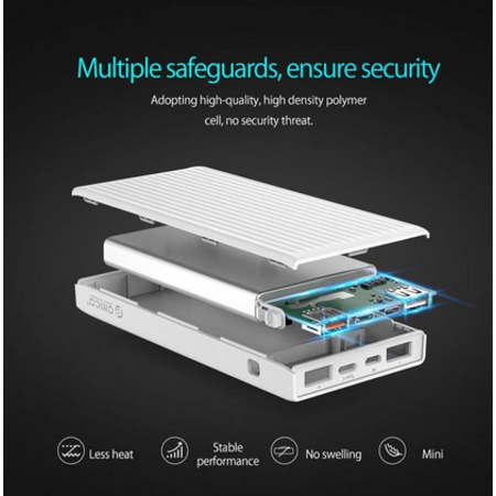 Orico  Universele Quick Charge Powerbank - 20000mAh - Compatibel met Type C - Li-Po batterij - LED-indicator - Wit