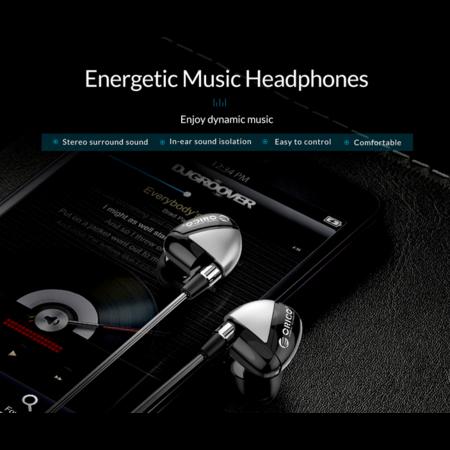 Orico   In-ear Soundplus headset - koptelefoon/oortjes met microfoon en bedieningsknopje – Stereo surround sound - 3.5mm jack – Gevlochten aluminium draad – Hoge audio resolutie – Incl. Extra siliconen dopjes - Lengte 1.25M – Grijs/zwart