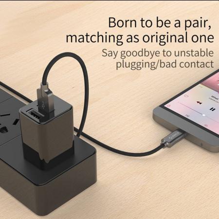 Orico  Type-C oplaad- en datakabel - 2.4A - Geweven denimstof - kabellengte: 1 meter - Zwart