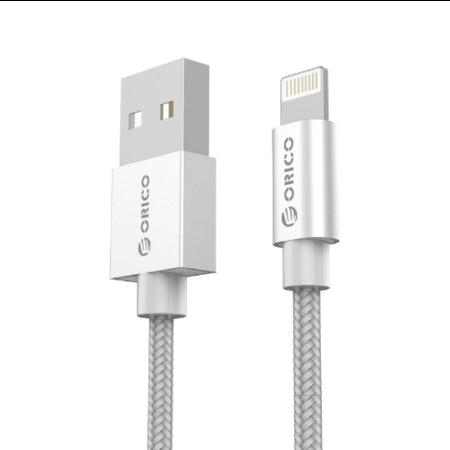 Orico   1 meter lange MFI Apple Lightning Kabel - Gecertificeerd - Voor iPhone en iPad - Gevlochten nylon - Aluminium behuizing