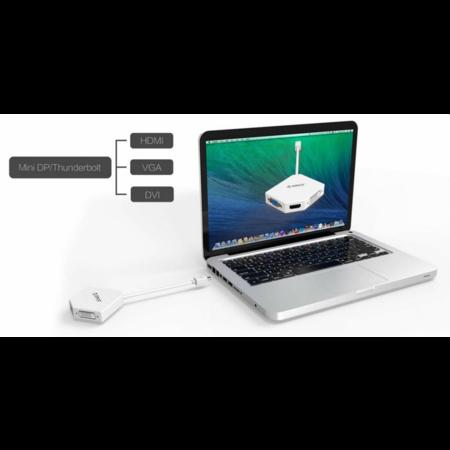 Orico  Mini DisplayPoort naar HDMI, DVI en VGA Adapter - Full HD - Wit