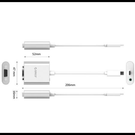 Orico  Aluminium Type-C naar VGA adapter - Incl. Audio output - Mac Style - 1920 x1080P Full HD - Zilver