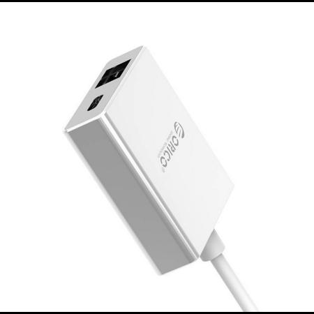 Orico   Aluminium Type-C naar RJ45 Gigabit Ethernet Adapter - met Power Delivery - Mac Style - 10/100/1000Mbps - Zilver