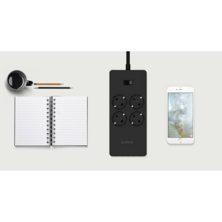 Orico  USB stekkerdoos met vier stopcontacten en vijf USB-laadpoorten - 4000W - Incl. aan/uit schakelaar - Zwart