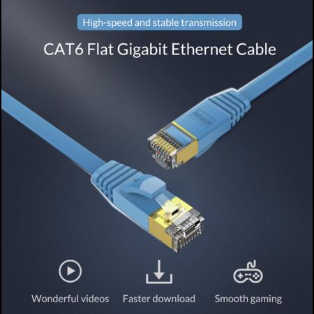 Orico  RJ45 Gigabit Ethernet kabel – CAT6 – 1000Mbps – Platte kabel van 10 meter lang – Geschikt voor o.a. router, exchanger, hub etc. - Goud vergulde pin – Blauw