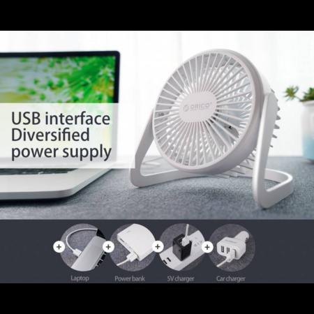 Orico   Mini USB ventilator - 360 graden te draaien - 1.5W - <35dB -Incl. type-A naar Micro B kabel van 1M - Wit