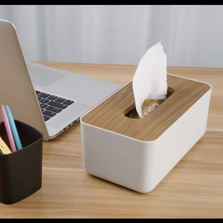 Orico  Tissue box houder met hout-look - Duurzaam - Wit/hout