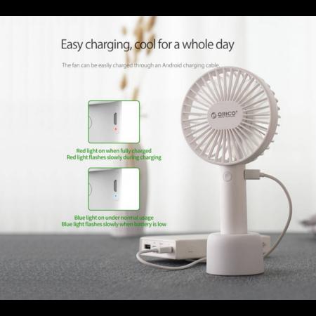 Orico  Oplaadbare bureau- en draagbare ventilator – 3 standen – opladen via USB – 3W – met houder – LED-indicator – Wit