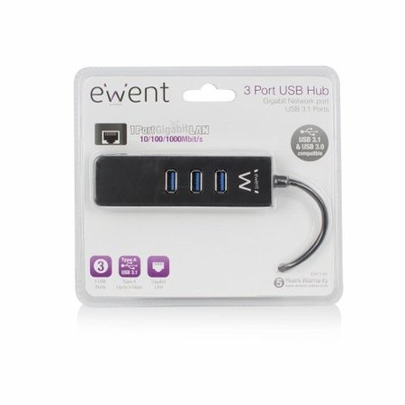 Ewent USB 3.1 Gen 1 (USB 3.0) Hub 3 port with Gigabit netw.