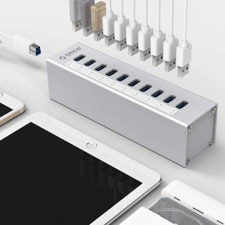 Orico  Orico Aluminium USB3.0 HUB met 10 poorten - Zilver