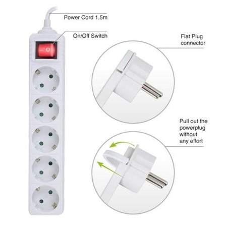 Ewent Power Strip white, with switch and flat plug, 5 plugs