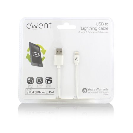 Ewent USB Lightning Cable for Apple 1.0M