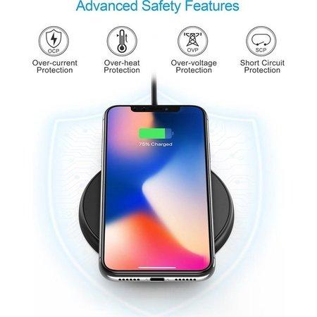 Choetech Draadloze QI Smartphone oplader / Wireless Charger - 10W - Fast Charge - Anti-Slip ontwerp - Zwart