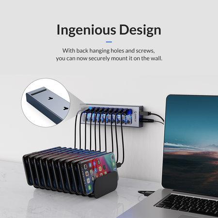 Orico  USB 3.0 hub met 7 poorten - aluminium en transparant design - BC 1.2 - grijs