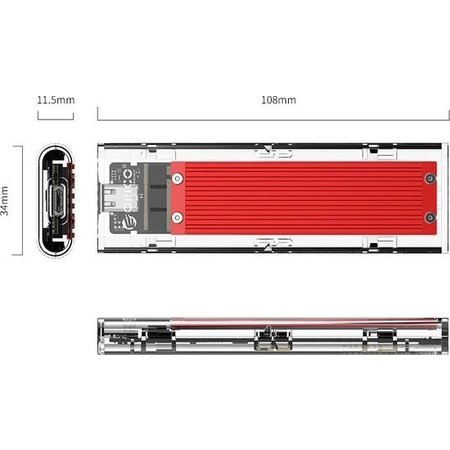 Orico  Dual protocol NVMe M.2 SSD/M.2 SSD behuizing 10Gbps - rood