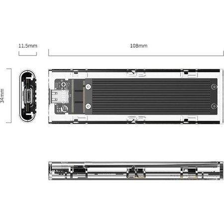 Orico  Dual protocol NVMe M.2 SSD/M.2 SSD behuizing 10Gbps - zwart