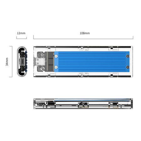 Orico  Dual protocol NVMe M.2 SSD/M.2 SSD behuizing 10Gbps - blauw