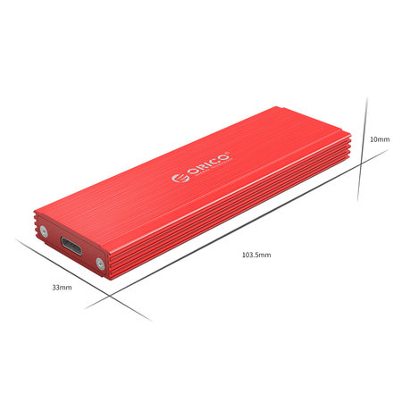 Orico  NVMe M.2 SSD behuizing - 10Gbps - Aluminium - rood
