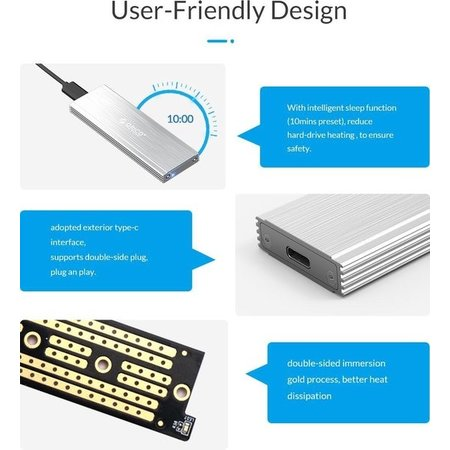 Orico  NVMe M.2 SSD behuizing - 10Gbps - Aluminium - zilver