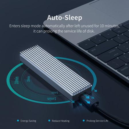 Orico  NVME M.2 SSD behuizing – USB-C 3.1 - 10Gbps - Sky Grey
