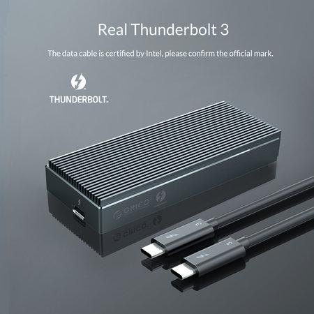 Orico  Thunderbolt™ 3 NVMe M.2 SSD aluminium behuizing – 40Gbps - uniek design - Sky Grey