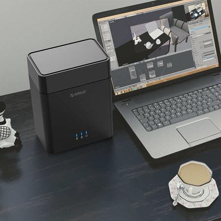 Orico  3.5 inch dual bay harde schijf behuizing - USB 3.0 - magnetisch