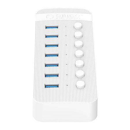 Orico  USB 3.0 hub met 7 poorten - BC 1.2 - aan/uit schakelaars - 24W - wit