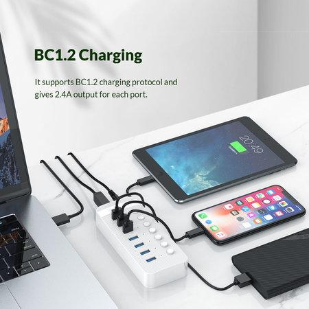 Orico  USB 3.0 hub met 10 poorten - BC 1.2 - aan/uit schakelaars - 24W - wit