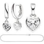 Jobo Kinder Schmuck-Set Herz 925 Silber mit Zirkonia Anhänger Ohrringe Kette 38 cm