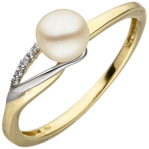 Jobo Damen Ring 333 Gelbgold Weißgold bicolor 1 Süßwasser Perle 6 Zirkonia