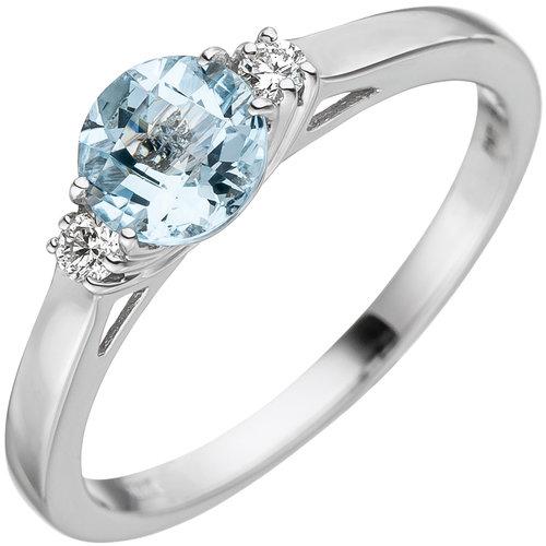 Jobo Damen Ring 585 Weißgold 1 Aquamarin hellblau blau 2 Diamanten Brillanten