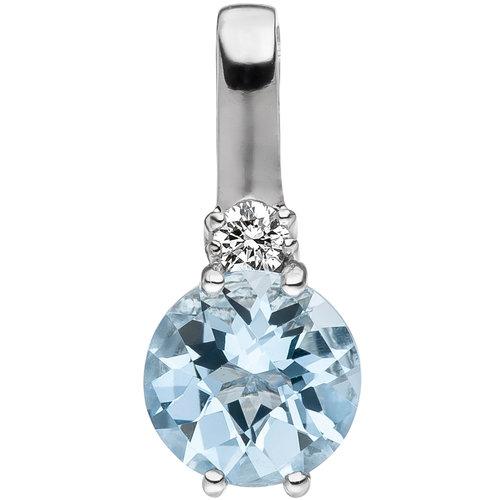 Jobo Anhänger 585 Gold Weißgold 1 Diamant Brillant 1 Aquamarin hellblau blau