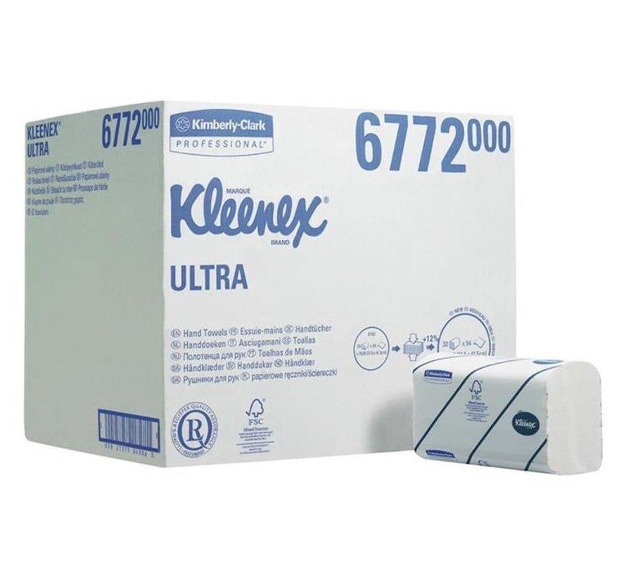 Handdoeken 2-laags 21,5x41,5cm wit 6772 (30x94 stuks)