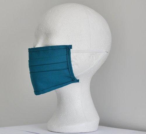 DispoDeals 2 dubbelzijdige wasbare mondmaskers van stof (blauw groen)