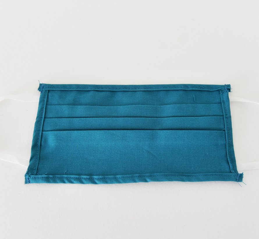 2 dubbelzijdige wasbare mondmaskers van stof (blauw groen)