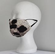 DispoDeals 2 dubbelzijdige wasbare mondmaskers van stof (dieren print/grijs en wit)