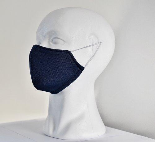 DispoDeals 2 dubbelzijdige wasbare mondmaskers van stof (blauw/wit)