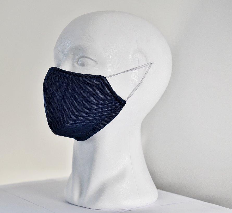 2 dubbelzijdige wasbare mondmaskers van stof (blauw/wit)