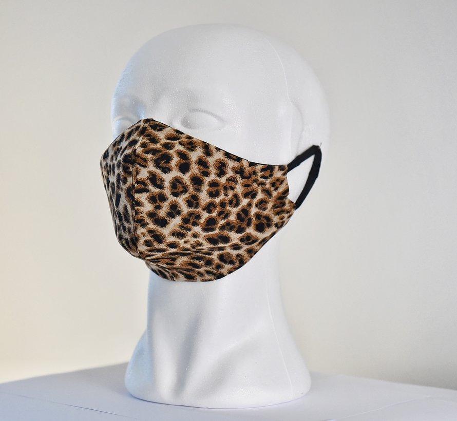 2x 2 laags wasbare mondmaskers van stof (panter print)