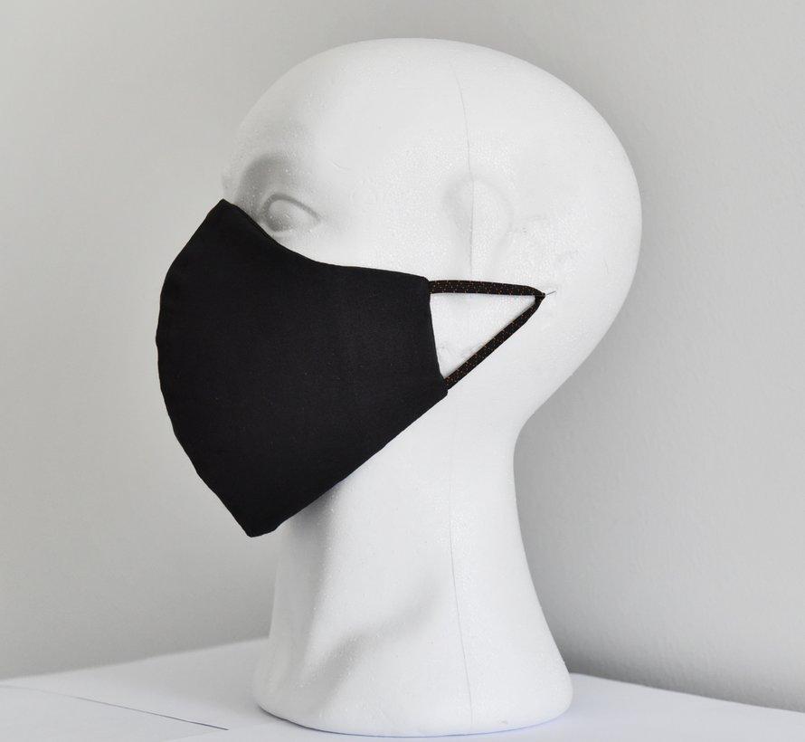 2x 2 laags wasbare mondmaskers van stof (zwart)